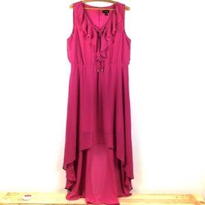 Thalia Sodi Magenta Ruffle High Low Dress